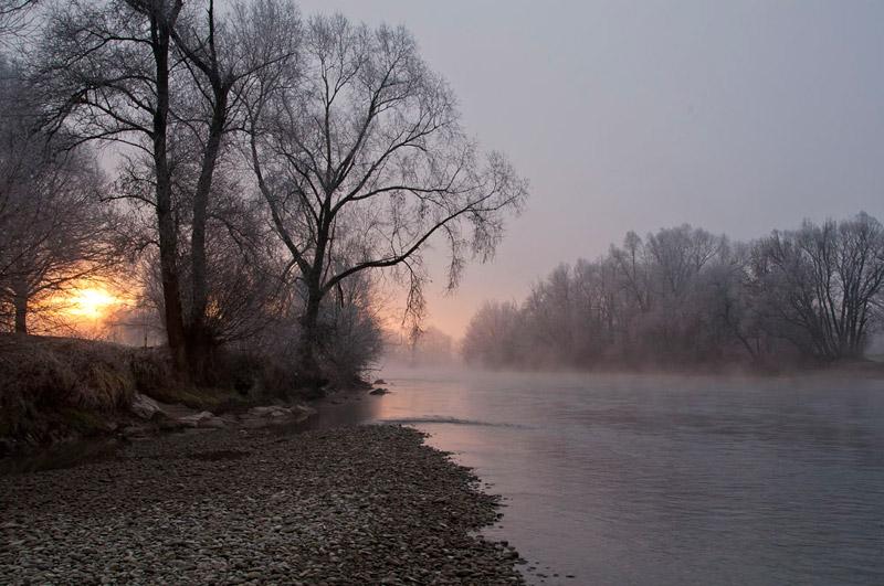 Morgendämmerung an der Reuss